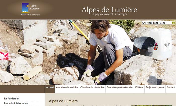 Page accueil site Alpes de Lumière
