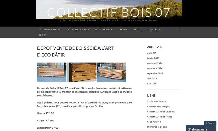 Page accueil site Collectif bois 07