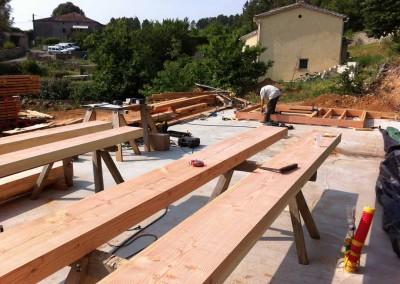 Maison ossature bois - paille - taille charpente - Banne Ardèche