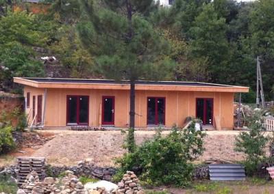 Maison ossature bois - paille - gros œuvre - Banne Ardèche