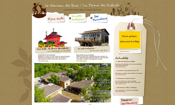 Page accueil site Le Hameau des Buis