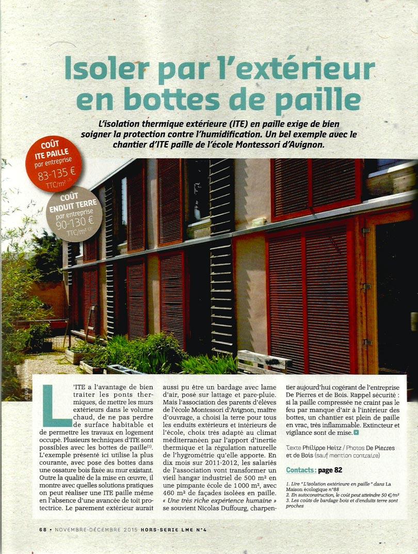 La Maison écologique - article isoler en bottes de paille par l'extérieur - p1