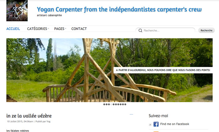 Page accueil site Yogan Carpenter