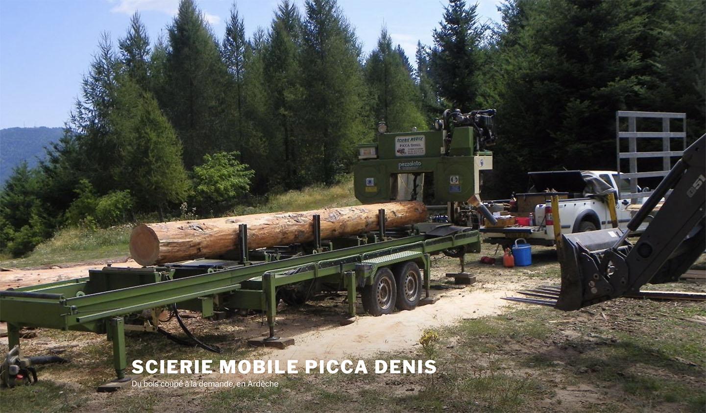 Page d'accueil du site de la scierie mobile de Denis Picca